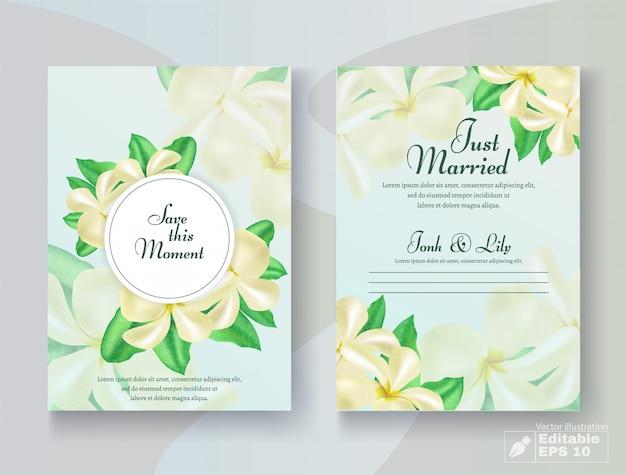 Cartão de casamento romântico conjunto com flor Vetor Premium