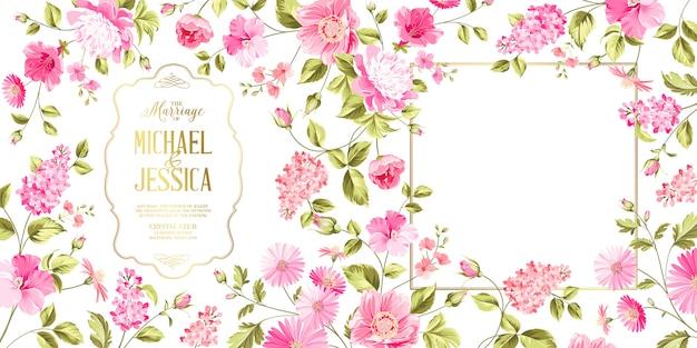 Cartão de casamento seringa primavera Vetor Premium