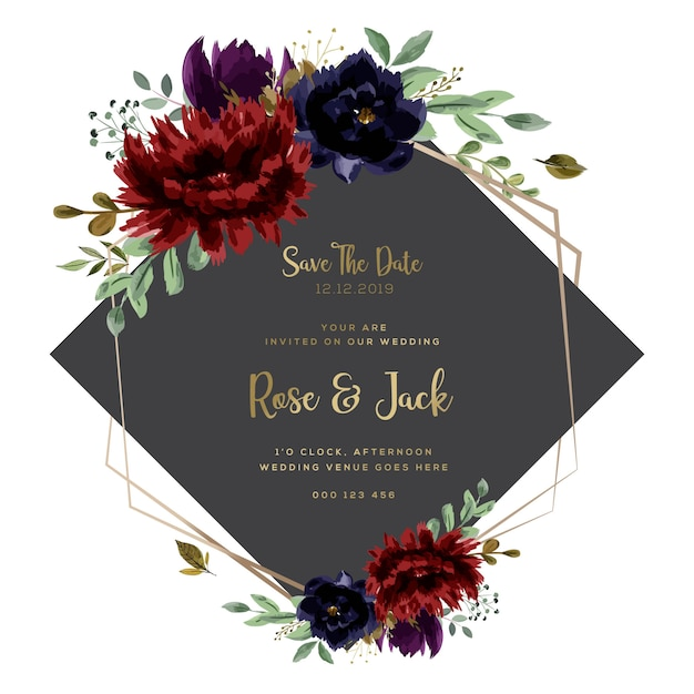 Cartão de casamento texto dourado borgonha Vetor Premium