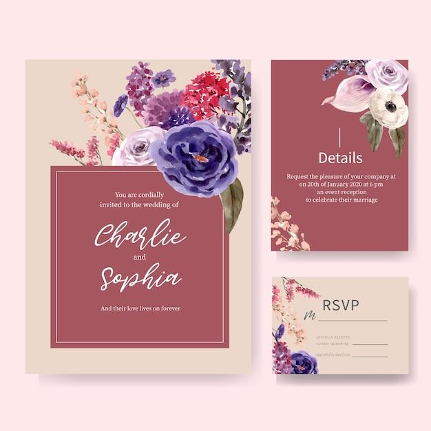 Cartão de casamento vinho floral com lisianthus, rosa ilustração aquarela Vetor grátis