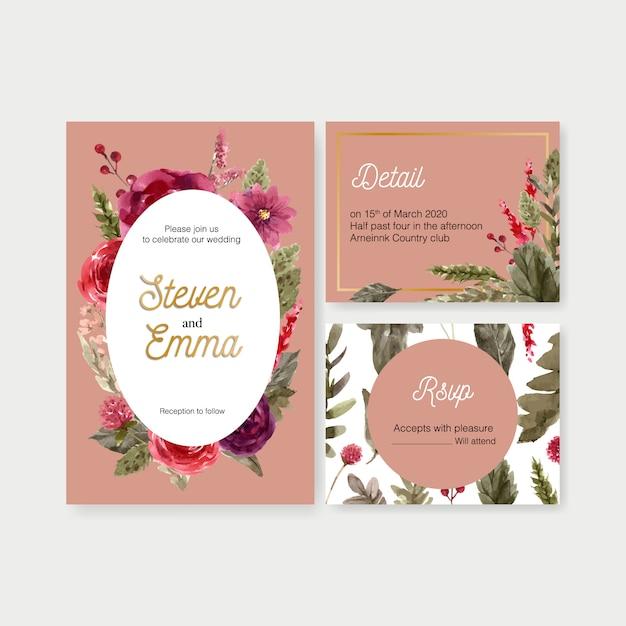 Cartão de casamento vinho floral com rowan, rosa ilustração aquarela Vetor grátis