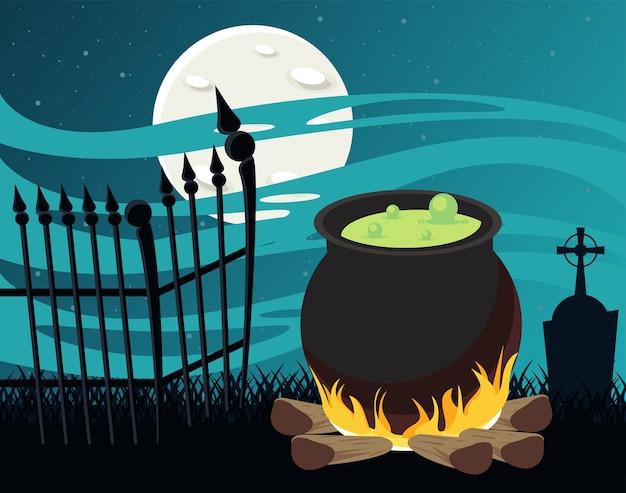 Cartão de celebração de feliz dia das bruxas com caldeirão e cerca no cemitério. Vetor Premium