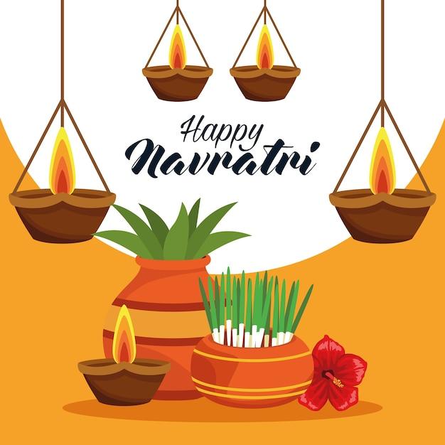 Cartão de celebração do feliz navratri com plantas e velas Vetor Premium