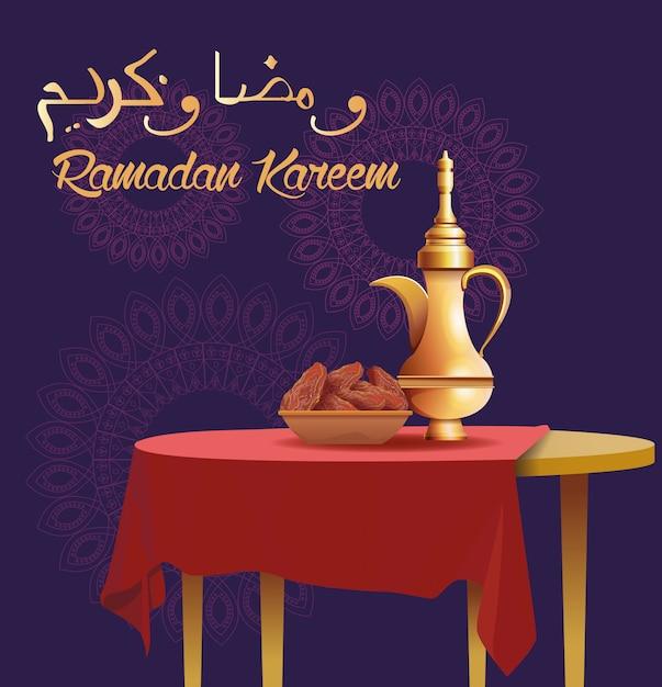 Cartão de celebração do ramadã kareem com bule de chá na mesa Vetor Premium