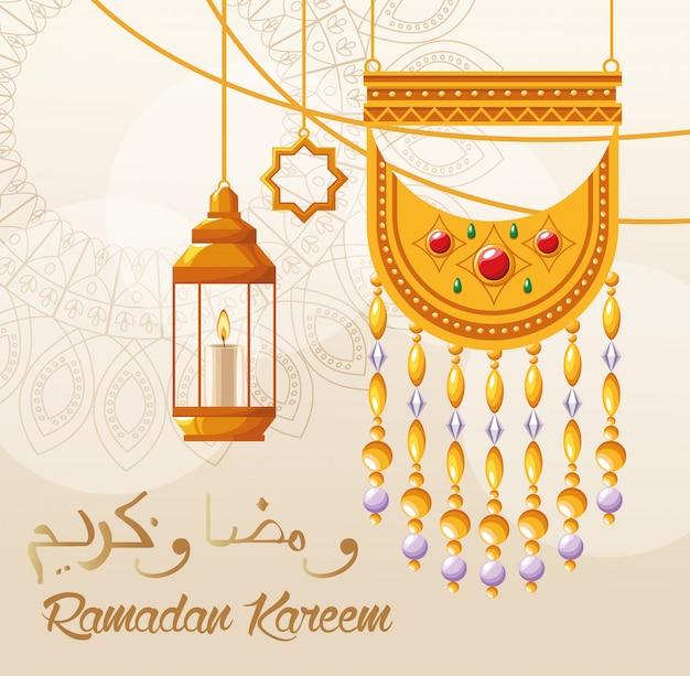 Cartão de celebração do ramadã kareem com lanternas penduradas Vetor Premium