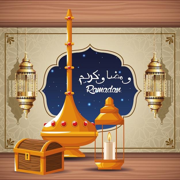 Cartão de celebração do ramadã kareem com peito e lanterna Vetor Premium
