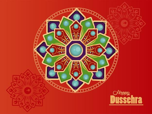 Cartão de celebração dussehra feliz com mandalas em fundo vermelho. Vetor Premium