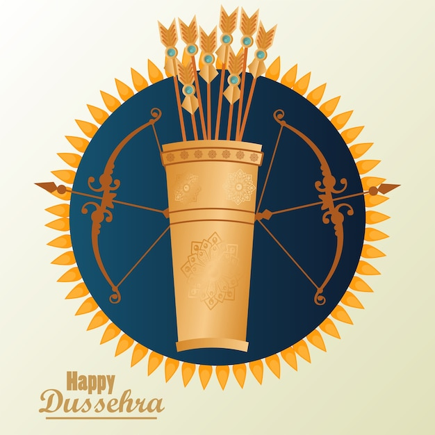 Cartão de celebração dussehra feliz com saco de arcos e flechas. Vetor Premium