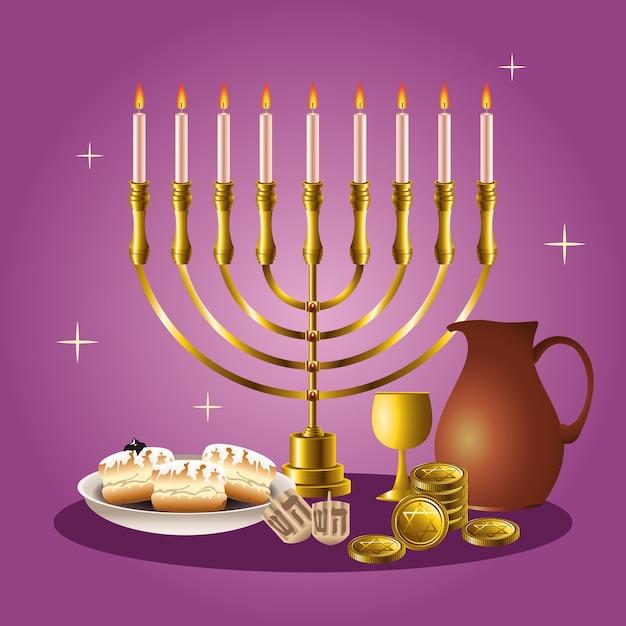 Cartão de celebração feliz hanukkah com candelabro e elementos dourados Vetor Premium