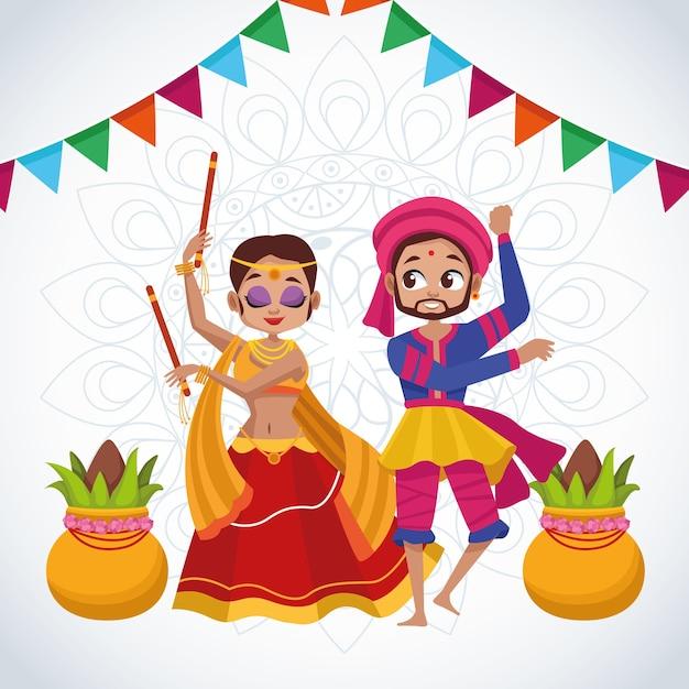 Cartão de celebração feliz navratri com casal dançando e guirlandas Vetor Premium
