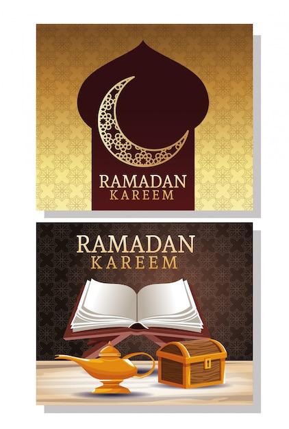 Cartão de celebração ramadan kareem com baú de madeira e livro Vetor Premium