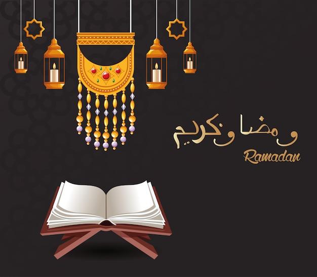 Cartão de celebração ramadan kareem com lanternas penduradas e projeto de ilustração vetorial corão Vetor Premium