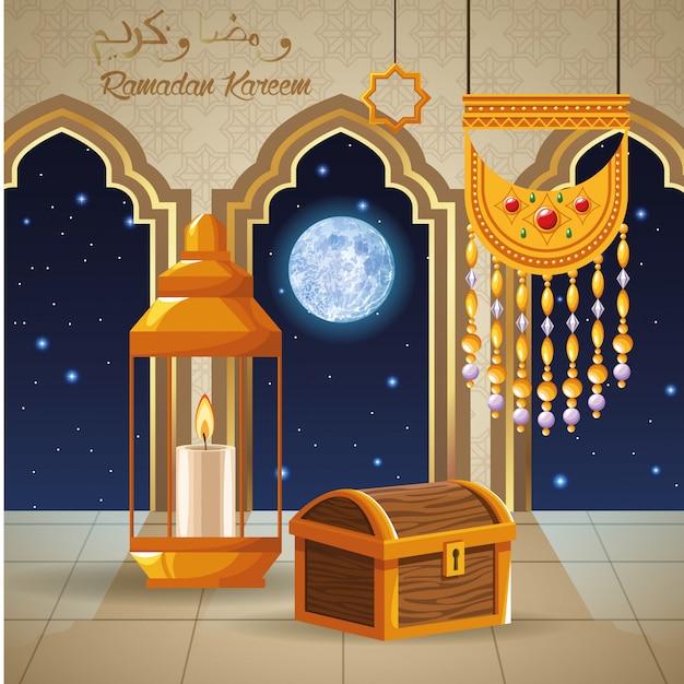 Cartão de celebração ramadan kareem com peito e lanterna vector design ilustração Vetor Premium