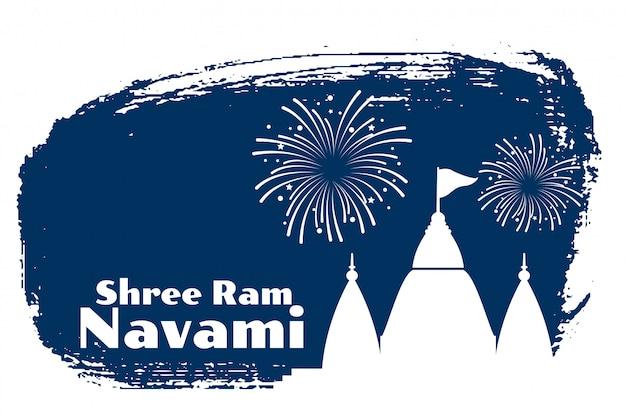 Cartão de celebração shami ram navami com design do templo Vetor grátis