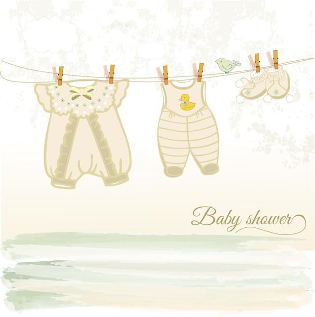 Cartão de chá de bebê Vetor Premium