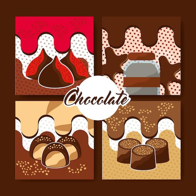 Cartão de chocolate cacau Vetor Premium