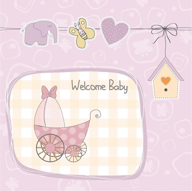 Cartão de chuveiro bebê menina com carrinho Vetor Premium