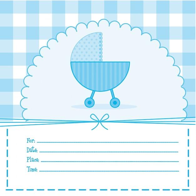 Cartão de chuveiro de bebê azul com ilustração vetorial de carrinho Vetor Premium