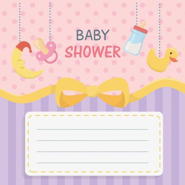 Cartão de chuveiro de bebê com acessórios pendurados Vetor grátis
