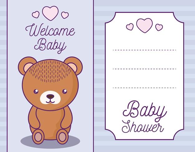 Cartão de chuveiro de bebê com animal fofo urso Vetor Premium