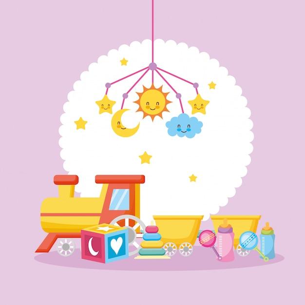 Cartão de chuveiro de bebê com brinquedo de trem Vetor Premium