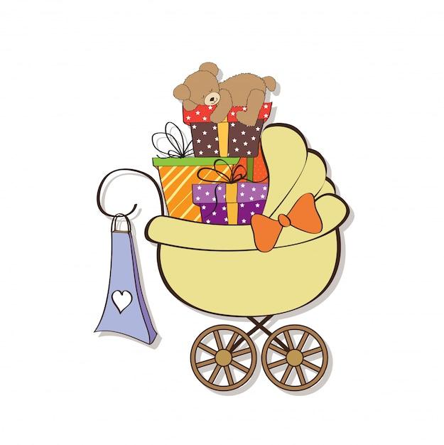 Cartão de chuveiro de bebê com caixas de presente Vetor Premium