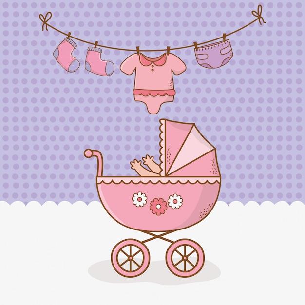 Cartão de chuveiro de bebê com carrinho rosa Vetor Premium