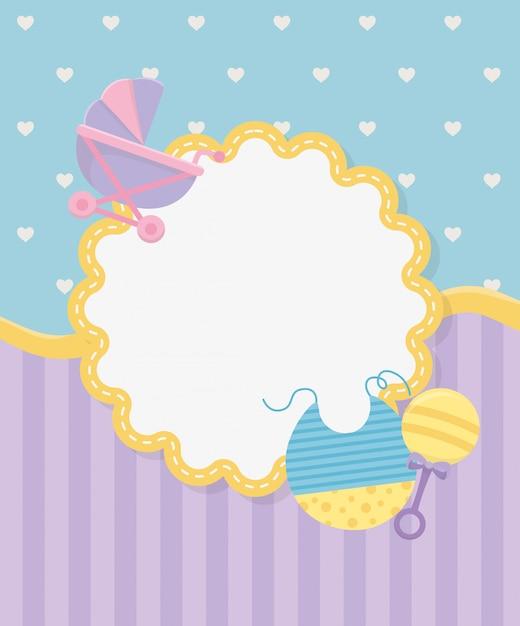 Cartão de chuveiro de bebê com carrinho Vetor grátis