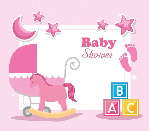 Cartão de chuveiro de bebê com cavalo de madeira e ilustração de elementos Vetor Premium