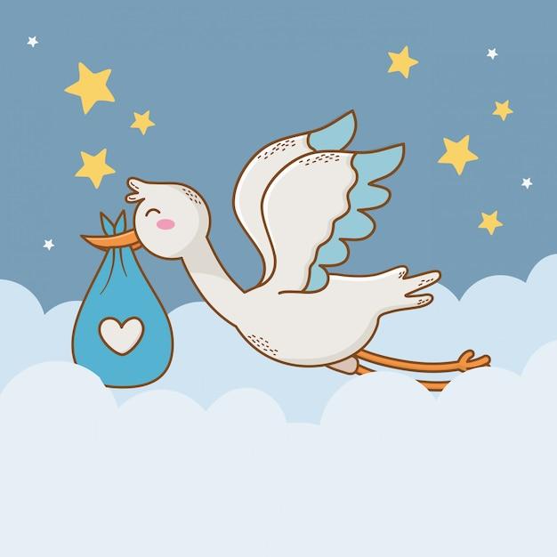 Cartão de chuveiro de bebê com cegonha Vetor Premium