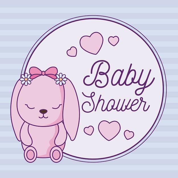 Cartão de chuveiro de bebê com coelho fofo Vetor Premium