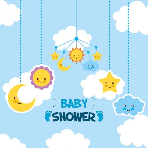 Cartão de chuveiro de bebê com conjunto de ícones de suspensão Vetor Premium