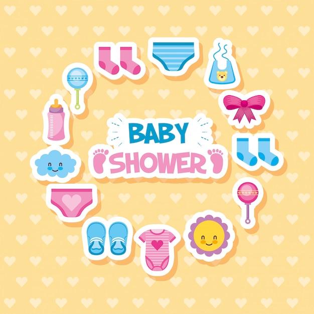 Cartão de chuveiro de bebê com conjunto de ícones Vetor Premium