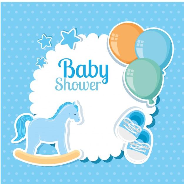 Cartão de chuveiro de bebê com decoração fofa Vetor Premium