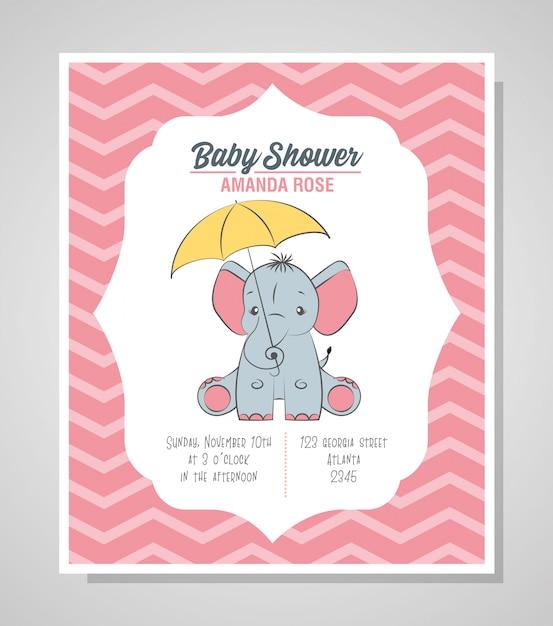 Cartão de chuveiro de bebê com elefante fofo Vetor Premium