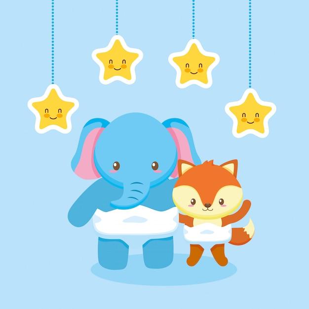 Cartão de chuveiro de bebê com elefante Vetor Premium