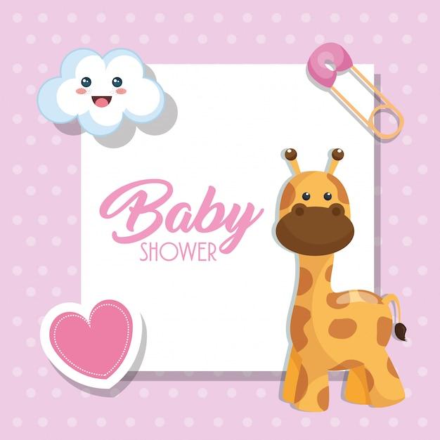 Cartão de chuveiro de bebê com girafa bonitinho Vetor grátis