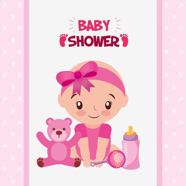 Cartão de chuveiro de bebê com menina Vetor Premium