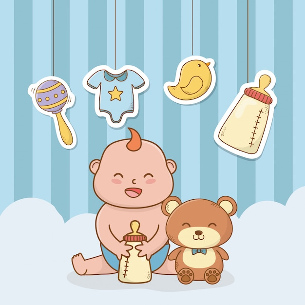 Cartão de chuveiro de bebê com menino bebê Vetor Premium