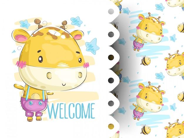 Cartão de chuveiro de bebê com padrão de girafa Vetor Premium