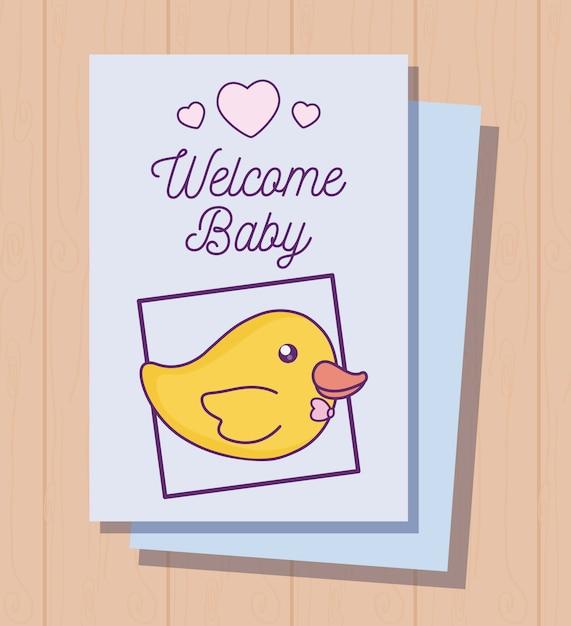 Cartão de chuveiro de bebê com pato fofo Vetor Premium
