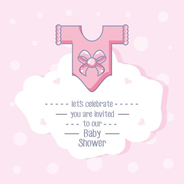 Cartão de chuveiro de bebê com roupas para menina Vetor Premium