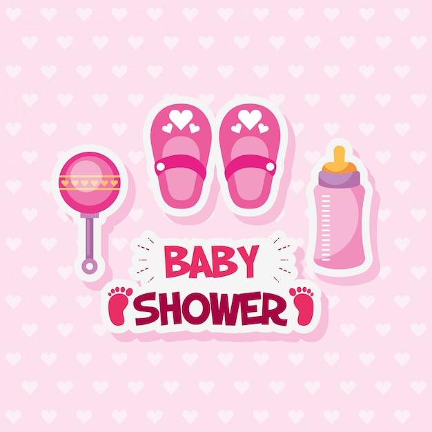 Cartão de chuveiro de bebê com sapatos e acessórios Vetor Premium