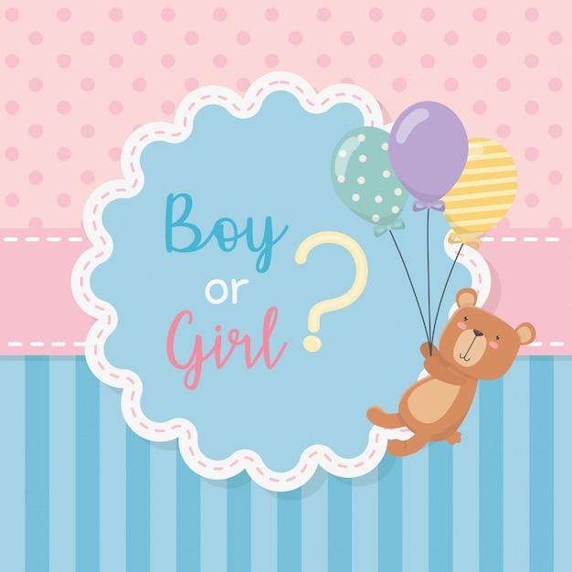 Cartão de chuveiro de bebê com ursinho de pelúcia com balões de hélio Vetor grátis