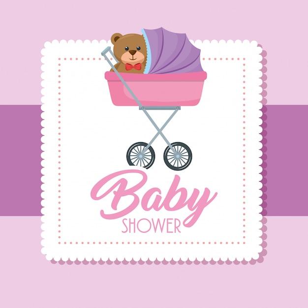 Cartão de chuveiro de bebê com urso teddy no carrinho Vetor grátis