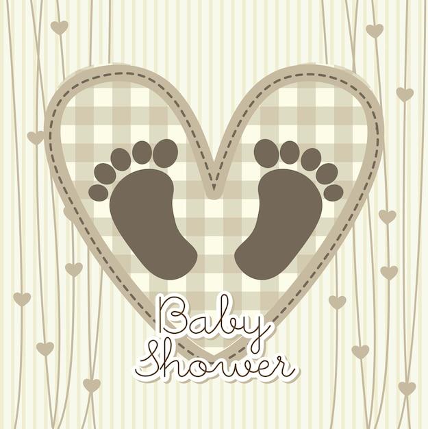 Cartão de chuveiro de bebê sobre ilustração vetorial de fundo bege Vetor Premium