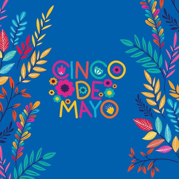 Cartão de cinco de mayo com moldura floral Vetor Premium