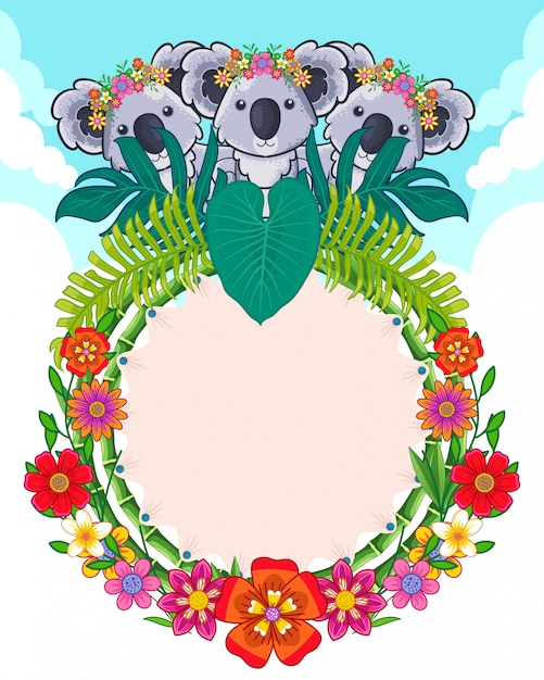 Cartão de coalas e flores fofos Vetor Premium