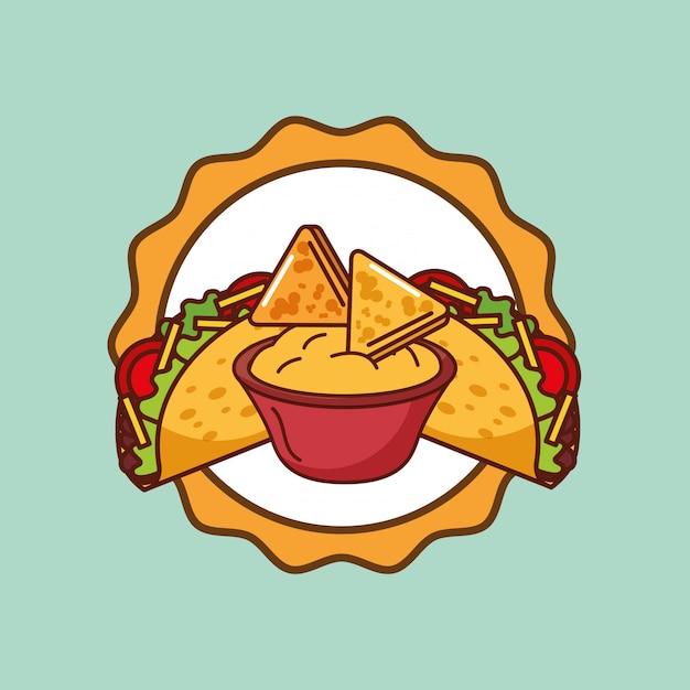 Cartão de comida mexicana Vetor Premium