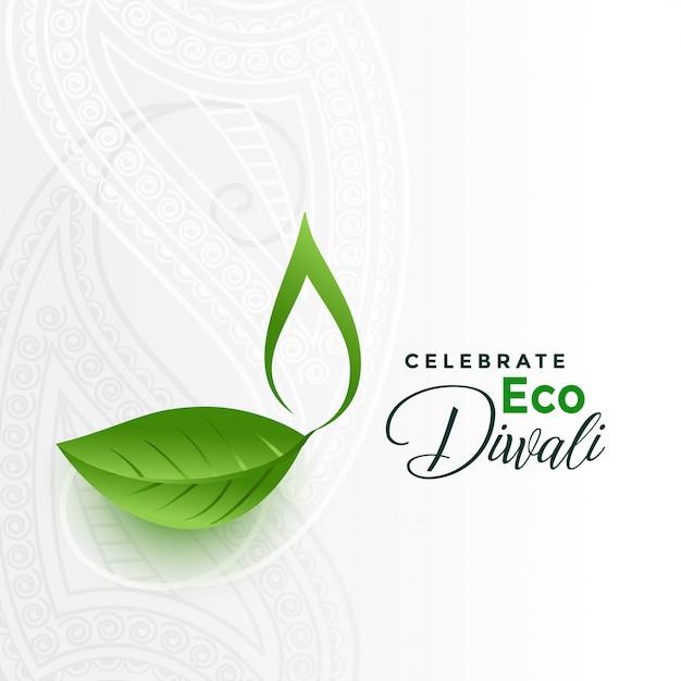 Cartão de conceito feliz eco verde diwali Vetor grátis